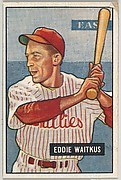 Eddie Waitkus, 1st Base, Philadelphia Phillies, from Picture Cards, series 5 (R406-5) issued by Bowman Gum