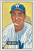 Sam Mele, Outfield, Washington Senators, from Picture Cards, series 5 (R406-5) issued by Bowman Gum