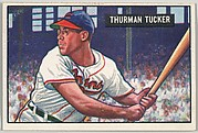 Thurman Tucker, Outfield, Cleveland Indians, from Picture Cards, series 5 (R406-5) issued by Bowman Gum
