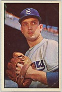 Carl Erskine, Pitcher, Brooklyn Dodgers, from Collector Series, Colors set, series 7 (R406-7) issued by Bowman Gum