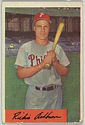Richie Ashburn, Centerfield, Philadelphia Phillies, from Name on Bat series, series 9 (R406-9) issued by Bowman Gum