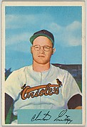 Clint Courtney, Catcher, Baltimore Orioles, from Name on Bat series, series 9 (R406-9) issued by Bowman Gum