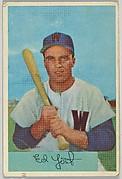 Eddie Yost, 3rd Base, Washington Senators, from Name on Bat series, series 9 (R406-9) issued by Bowman Gum