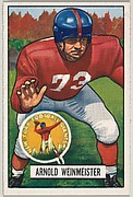 Card Number 21, Arnold Weinmeister, Tackle, New York Giants, from the Bowman Football series (R407-3) issued by Bowman Gum