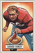 Card Number 28, Garrard Ramsey, Guard, Chicago Cardinals, from the Bowman Football series (R407-3) issued by Bowman Gum