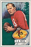 Card Number 32, Y.A. Little, Quarterback, San Francisco 49ers, from the Bowman Football series (R407-3) issued by Bowman Gum