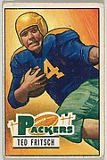 Card Number 54, Ted Fritsch, Fullback, Green Bay Packers, from the Bowman Football series (R407-3) issued by Bowman Gum
