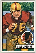 Card Number 71, Paul Lipscomb, Tackle, Washington Redskins, from the Bowman Football series (R407-3) issued by Bowman Gum