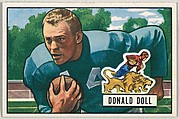 Card Number 61, Donald Doll, Halfback, Detroit Lions, from the Bowman Football series (R407-3) issued by Bowman Gum