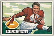 Card Number 66, Robert Nussbaumer, Halfback, Chicago Cardinals, from the Bowman Football series (R407-3) issued by Bowman Gum