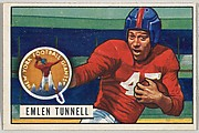 Card Number 91, Emlen Tunnell, Halfback, New York Giants, from the Bowman Football series (R407-3) issued by Bowman Gum
