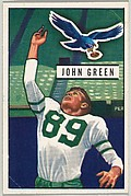 Card Number 83, John Green, End, Philadelphia Eagles, from the Bowman Football series (R407-3) issued by Bowman Gum