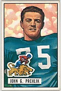 Card Number 100, John Prchlik, Tackle, Detroit Lions, from the Bowman Football series (R407-3) issued by Bowman Gum