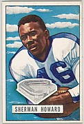 Card Number 116, Sherman Howard, Halfback, New York Yanks, from the Bowman Football series (R407-3) issued by Bowman Gum