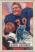 Card Number 121, George Gulyanics, Halfback, Chicago Bears, from the Bowman Football series (R407-3) issued by Bowman Gum