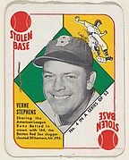 Card  Number 4, Verne Stephens, Boston Red Sox, from the Topps Red/ Blue Backs series (R414-5) issued by Topps Chewing Gum Company