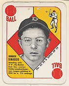 Card  Number 20, Dominick DeMaggio, Outfield, Boston Red Sox, from the Topps Red/ Blue Backs series (R414-5) issued by Topps Chewing Gum Company