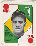 Card  Number 24, Hank Bauer, Outfield, New York Yankees, from the Topps Red/ Blue Backs series (R414-5) issued by Topps Chewing Gum Company