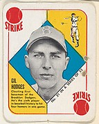 Card  Number 31, Gil Hodges, 1st Base, Brooklyn Dodgers, from the Topps Red/ Blue Backs series (R414-5) issued by Topps Chewing Gum Company