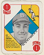 "Card  Number 38, Ed ""Duke"" Snider, Outfield, Brooklyn Dodgers, from the Topps Red/ Blue Backs series (R414-5) issued by Topps Chewing Gum Company"