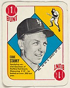 Card  Number 48, Eddie Stanky, 2nd Base, New York Giants, from the Topps Red/ Blue Backs series (R414-5) issued by Topps Chewing Gum Company