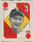 "Card  Number 6, Albert ""Red"" Schoendienst, 2nd Base, St. Louis Cardinals, from the Topps Red/ Blue Backs series (R414-5) issued by Topps Chewing Gum Company"