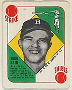 Card Number 9, Johnny Sain, Boston Braves, from the Topps Red/ Blue Backs series (R414-5) issued by Topps Chewing Gum Company