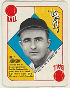 Card Number 21, Billy Johnson, 3rd Base, St. Louis Cardinals, from the Topps Red/ Blue Backs series (R414-5) issued by Topps Chewing Gum Company