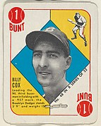 Card Number 48, Billy Cox, 3rd Base, Brooklyn Dodgers, from the Topps Red/ Blue Backs series (R414-5) issued by Topps Chewing Gum Company