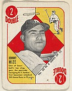 Card Number 50, Johnny Mize, 1st Base, New York Yankees, from the Topps Red/ Blue Backs series (R414-5) issued by Topps Chewing Gum Company
