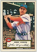 Card Number 13, Johnny Wyrostek, Cincinnati Reds, from the Topps Baseball series (R414-6) issued by Topps Chewing Gum Company