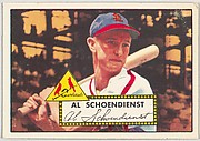 Card Number 91, Al Schoendienst, St. Louis Cardinals, from the Topps Baseball series (R414-6) issued by Topps Chewing Gum Company