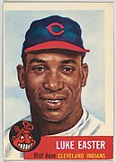 Card Number 2, Luke Easter, First Base, Cleveland Indians, from the series Topps Dugout Quiz (R414-7), issued by Topps Chewing Gum Company