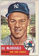 Card Number 43, Gil McDougald, Third Base, New York Yankees, from the series Topps Dugout Quiz (R414-7), issued by Topps Chewing Gum Company