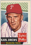 Card Number 59, Karl Drews, Pitcher, Philadelphia Phillies, from the series Topps Dugout Quiz (R414-7), issued by Topps Chewing Gum Company