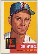 Card Number 63, Gus Niarhos, Catcher, Boston Red Sox, from the series Topps Dugout Quiz (R414-7), issued by Topps Chewing Gum Company