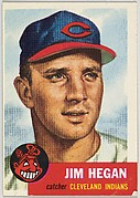 Card Number 80, Jim Hegan, Catcher, Cleveland Indians, from the series Topps Dugout Quiz (R414-7), issued by Topps Chewing Gum Company