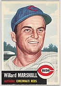 Card Number 95, Willard Marshall, Outfielder, Cincinnati Reds, from the series Topps Dugout Quiz (R414-7), issued by Topps Chewing Gum Company