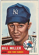 Card Number 100, Bill Miller, Pitcher, New York Yankees, from the series Topps Dugout Quiz (R414-7), issued by Topps Chewing Gum Company