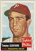 Card Number 140, Tommy Glaviano, Infielder, Philadelphia Phillies, from the series Topps Dugout Quiz (R414-7), issued by Topps Chewing Gum Company
