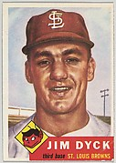 Card Number 177, Jim Dyck, Third Base, St. Louis Browns, from the series Topps Dugout Quiz (R414-7), issued by Topps Chewing Gum Company