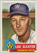 Card Number 224, Lou Sleater, Pitcher, Washington Senators, from the series Topps Dugout Quiz (R414-7), issued by Topps Chewing Gum Company