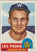 Card Number 256, Les Peden, Catcher, Washington Senators, from the series Topps Dugout Quiz (R414-7), issued by Topps Chewing Gum Company