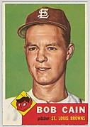 Card Number 266, Bob Cain, Pitcher, St. Louis Browns, from the series Topps Dugout Quiz (R414-7), issued by Topps Chewing Gum Company