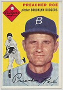"""Card Number 14, Preacher Roe, Pitcher, Brooklyn Dodgers, from """"1954 Topps Regular Issue"""" series (R414-8), issued by Topps Chewing Gum Company."""