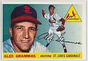 """Card Number 21, Alex Grammas, Shortstop, St. Louis Cardinals, from """"1955 Topps Regular Issue"""" series (R414-9), issued by Topps Chewing Gum Company."""