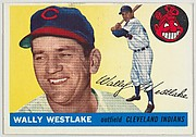 """Card Number 102, Wally Westlake, Outfield, Cleveland Indians, from """"1955 Topps Regular Issue"""" series (R414-9), issued by Topps Chewing Gum Company."""