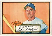 Card Number 36, Gilbert Ray Hodges, Brooklyn Dodgers, from the Topps Baseball series (R414-6) issued by Topps Chewing Gum Company