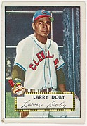 Card Number 243, Larry Doby, Cleveland Indians, from the Topps Baseball series (R414-6) issued by Topps Chewing Gum Company
