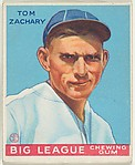 Tom Zachary, Boston Braves, from the Goudey Gum Company's Big League Chewing Gum series (R319)